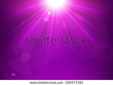 violet lights shining with lens