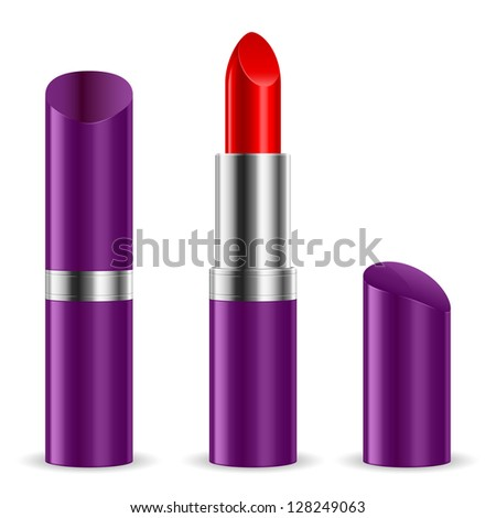 Violet lipstick closed and open. Illustration on white background.