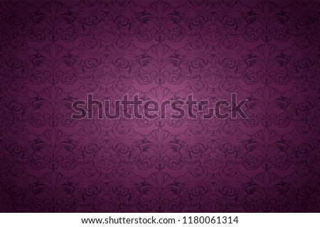 violet, marsala, purple vintage background , royal with classic Baroque pattern, Rococo with darkened edges background(card, invitation, banner). horizontal format