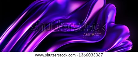Violet melted shape. Vector 3d illustration. Abstract vivid background with smooth wavy structure. Colorful graphic design trend. Glossy purple substance. Modern cover template