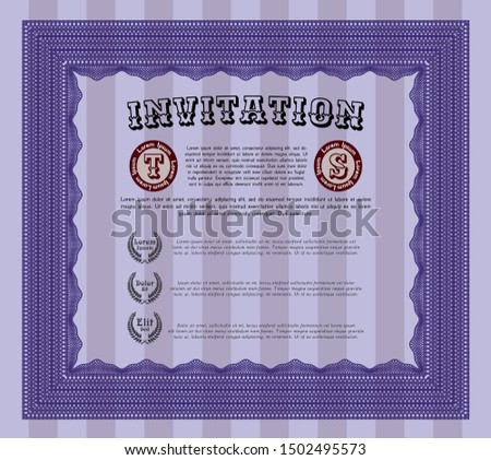 Violet Retro invitation template. With guilloche pattern and background. Sophisticated design. Customizable, Easy to edit and change colors.