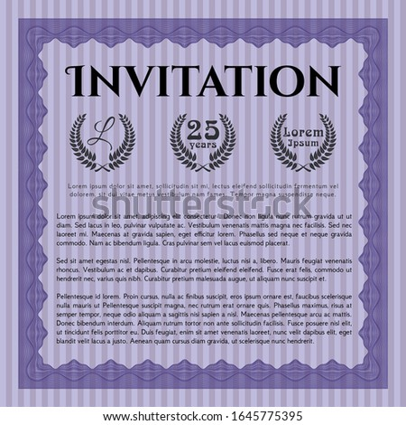 Violet Retro vintage invitation. With complex background. Customizable, Easy to edit and change colors. Nice design.