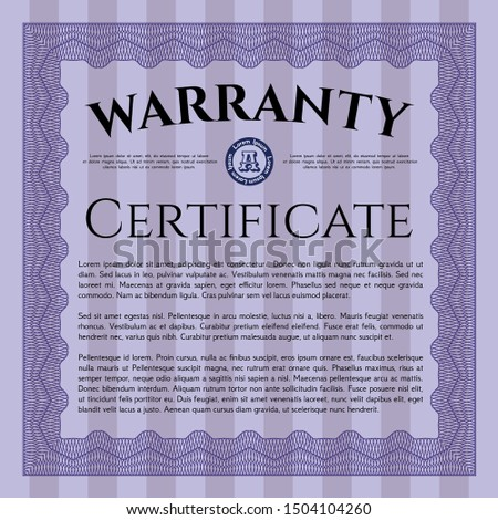 Violet Retro vintage Warranty Certificate. Good design. With complex linear background. Customizable, Easy to edit and change colors.