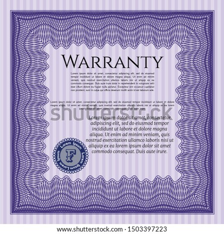 Violet Retro Warranty Certificate template. Money Pattern design. Customizable, Easy to edit and change colors. With complex linear background.