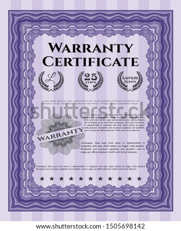 Violet Retro Warranty template. With guilloche pattern and background. Customizable, Easy to edit and change colors. Cordial design.