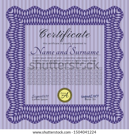Violet Sample Certificate. Money style design. With background. Customizable, Easy to edit and change colors.