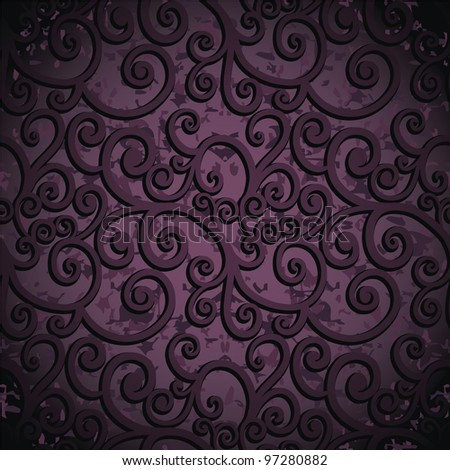 Violet Seamless Background With Curves On Grunge Texture