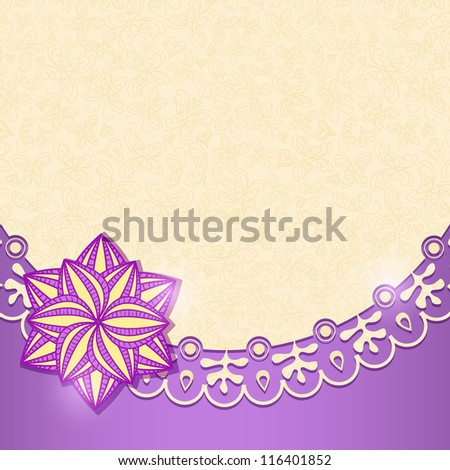 Violet Shiny Floral Invitation Card in Retro Style. Vector Background