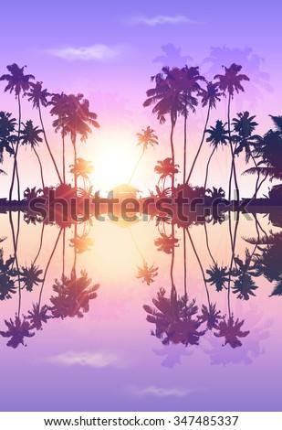 violet sky vector palms