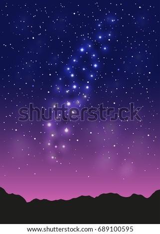 violet space landscape with