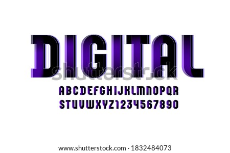Violet technical font, digital alphabet, letters (A, B, C, D, E, F, G, H, I, J, K, L, M, N, O, P, Q, R, S, T, U, V, W, X, Y, Z) and numbers (0, 1, 2, 3, 4, 5, 6, 7, 8, 9), vector illustration 10EPS Stock fotó ©
