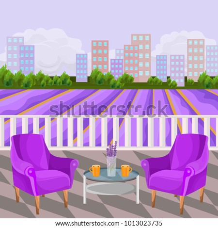 violet two armchairs terrace