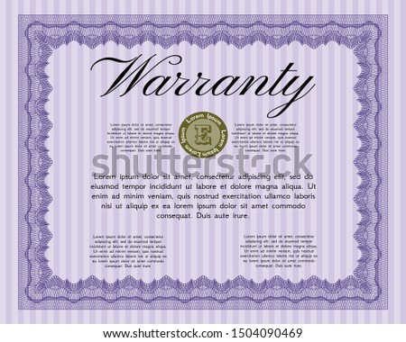 Violet Vintage Warranty Certificate template. Modern design. Customizable, Easy to edit and change colors. Printer friendly.