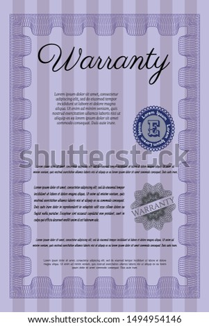Violet Vintage Warranty Certificate template. With complex linear background. Customizable, Easy to edit and change colors. Money design.
