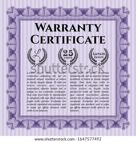 Violet Warranty Certificate template. With linear background. Customizable, Easy to edit and change colors. Elegant design.