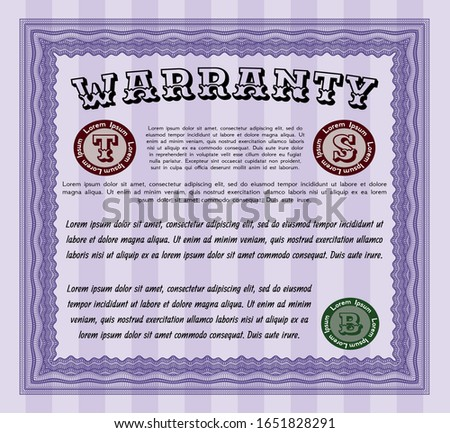 Violet Warranty. Customizable, Easy to edit and change colors. With background. Money Pattern.