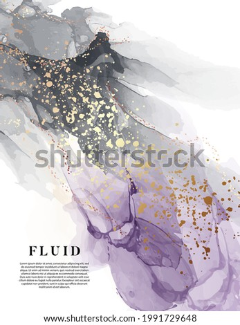 Violet watercolor ink  background, purple alcohol ink texture design. Acrylic ink oil painting black banner with gold metal splashes. Elegant card in vector