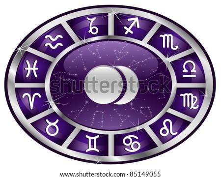 Violet zodiacal oval with zodiac sign.