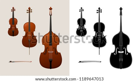 Violin, cello (violoncello) and double bass. Colored and black & white versions. High quality details.