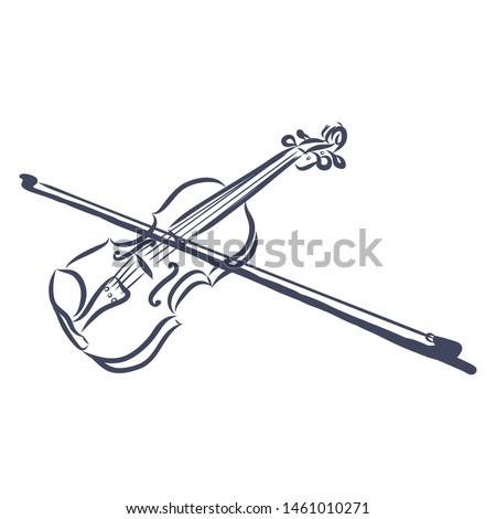 Violin, contour vector illustration, music instrument  Stock fotó ©