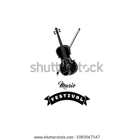 Violin icon. Music festival logo label. Classical musical instrument. Vector illustration.