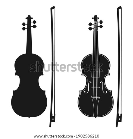 Violin icon. Music instrument silhouette. Vector illustration. Сток-фото ©