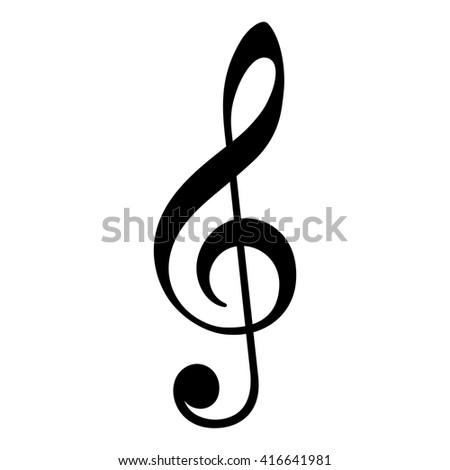 Violin key icon, clef symbol, black isolated vector icon.