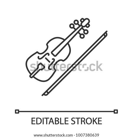 violin linear icon thin line