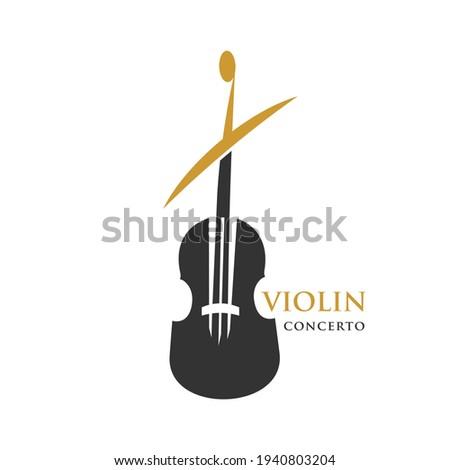 Violin Logo Violin Concerto Logo Symbol Foto d'archivio ©