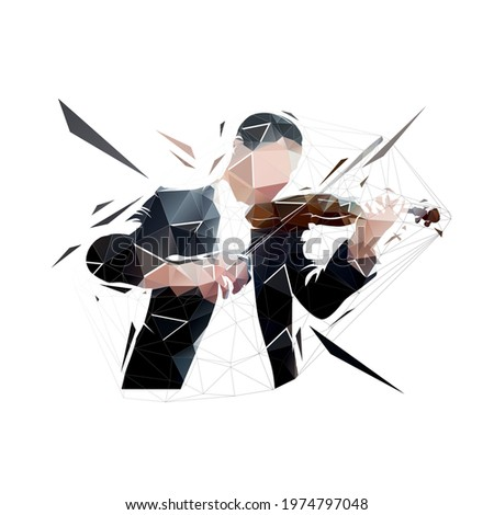 violin player  low polygonal