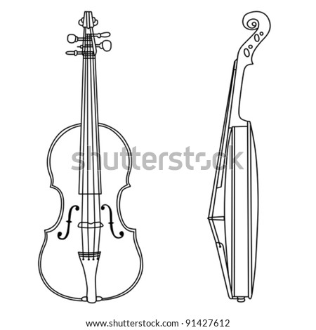 violin silhouette on white background, vector illustration
