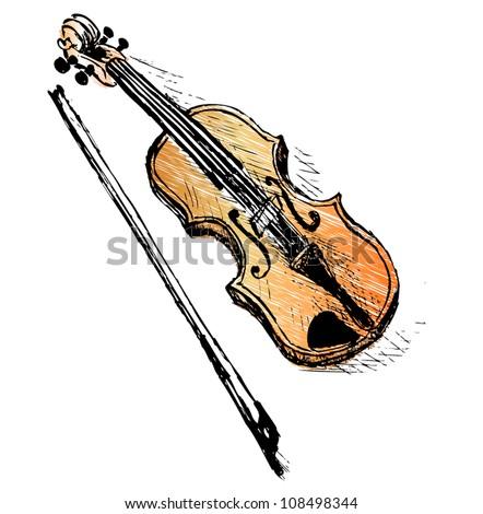 Violin sketch illustration - stock vector