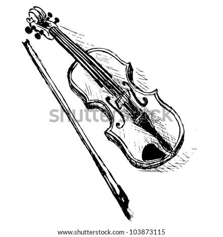 violin sketch illustration, vector background