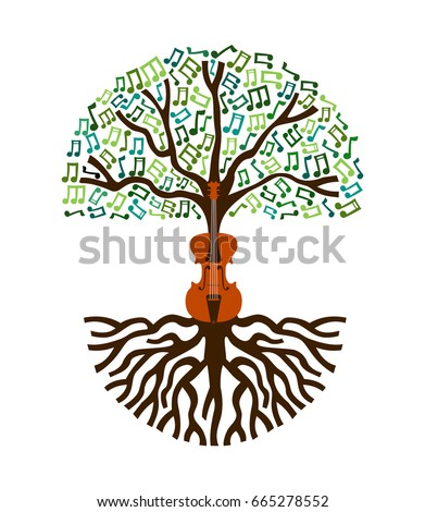 violin tree with musical note