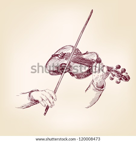 Violin - vintage hand drawn vector illustration
