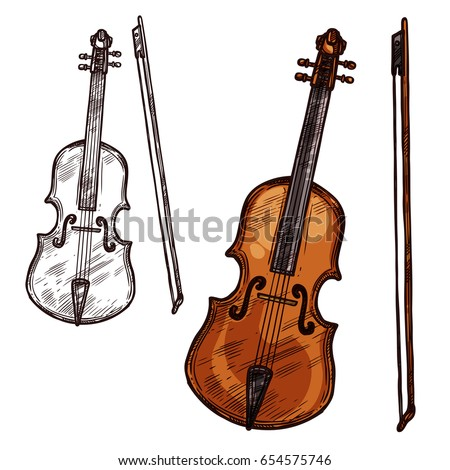 Violin with bow string music instrument. Vector sketch symbol of musical bowing or plucking type of viola fiddle or contrabass and cello for orchestra concert or folk and jazz music festival design Stock fotó ©