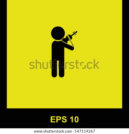Violinist vector black icon. Isolated illustration. Business picture.