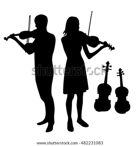 Violinists and violin black silhouettes