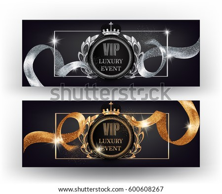 VIP banners with gold and silver curly sparkling ribbons. Vector illustration