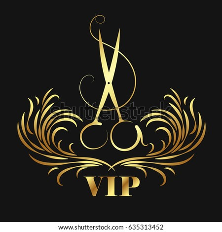 Vip beauty salon and hairdresser. Scissors and ornament symbol.