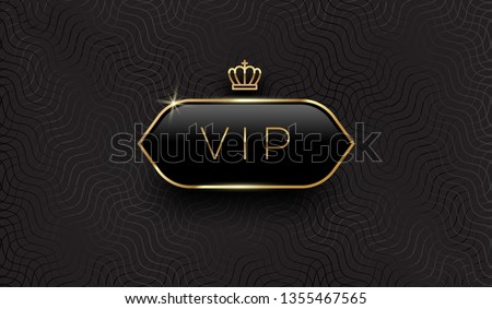 Vip black glass label with golden crown and frame on a black pattern background. Premium design. Luxury template design. Vector illustration.