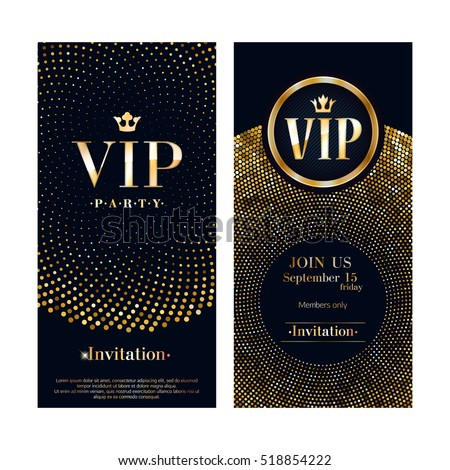 VIP club party premium invitation card poster flyer. Black and golden design template. Sequins and circles pattern decorative vector background.
