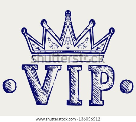 Vip crown symbol. Doodle style