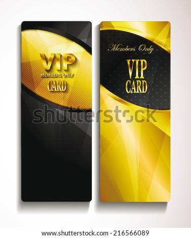 Vip elegant gold and black cards
