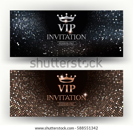 VIP elegant invitation cards with abstract background. Vector illustration