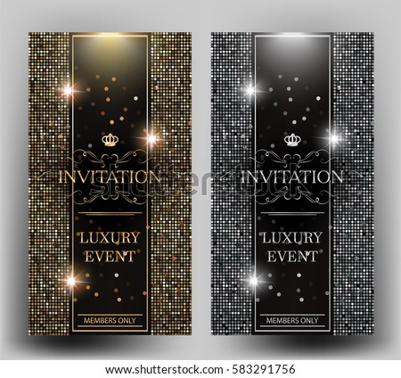 VIP elegant invitation cards with gold and silver design elements. Vector illustration