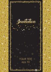 VIP elegant sparkling invitation with gold frame. Flashing label with shine glitter decoration on black background. Dots shimmer vector illustration for wedding envelope, card, banner.