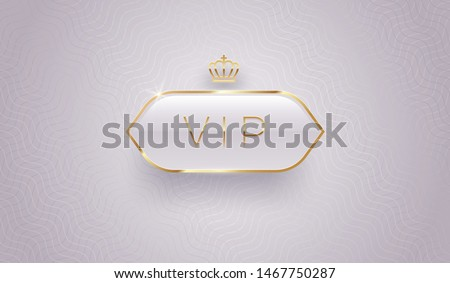 Vip glass label with golden crown and frame on a gray pattern background. Premium design. Luxury template design. Vector illustration. Stockfoto ©