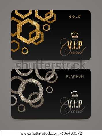 VIP golden and platinum card template. Vector illustration. Stock photo ©