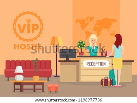 Vip Hostel Service and Hourly Rent Concept. Reception and Hotel Accommodation. Hostel Restroom Interior and Check In. Woman and Receptionist. Temporary Housing. Vector Flat Illustration.